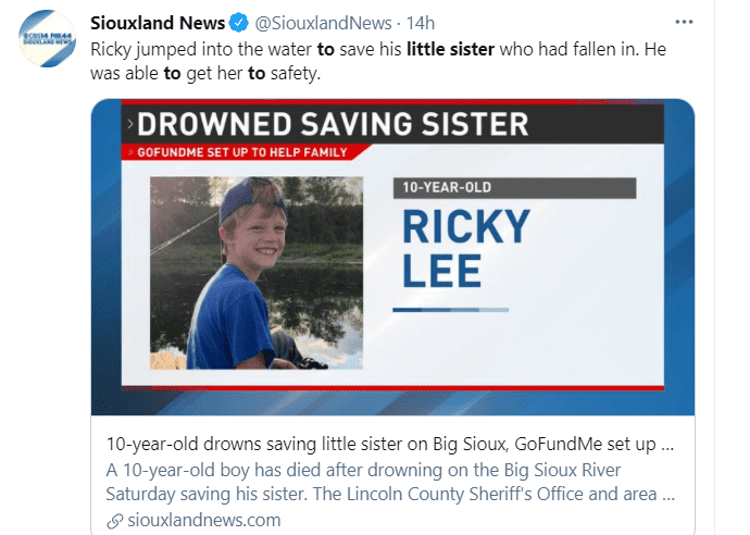 An image of Ricky Lee Sneve who drowned while trying to save his sister on June 12, 2021   Photo: Twitter/@SiouxlandNews