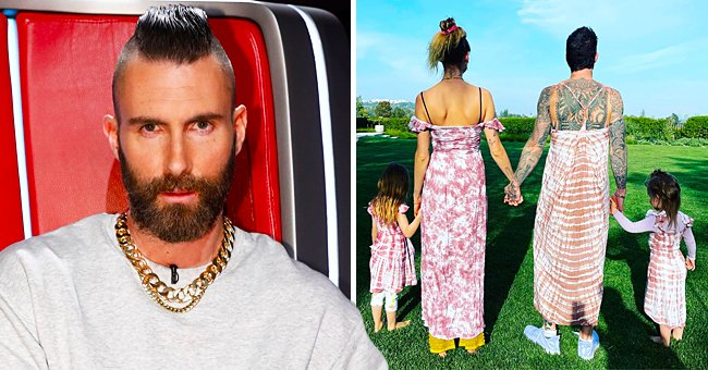 Adam Levine & Wife Behati Prinsloo Wear Matching Dresses With Their Daughters — See Funny Snap