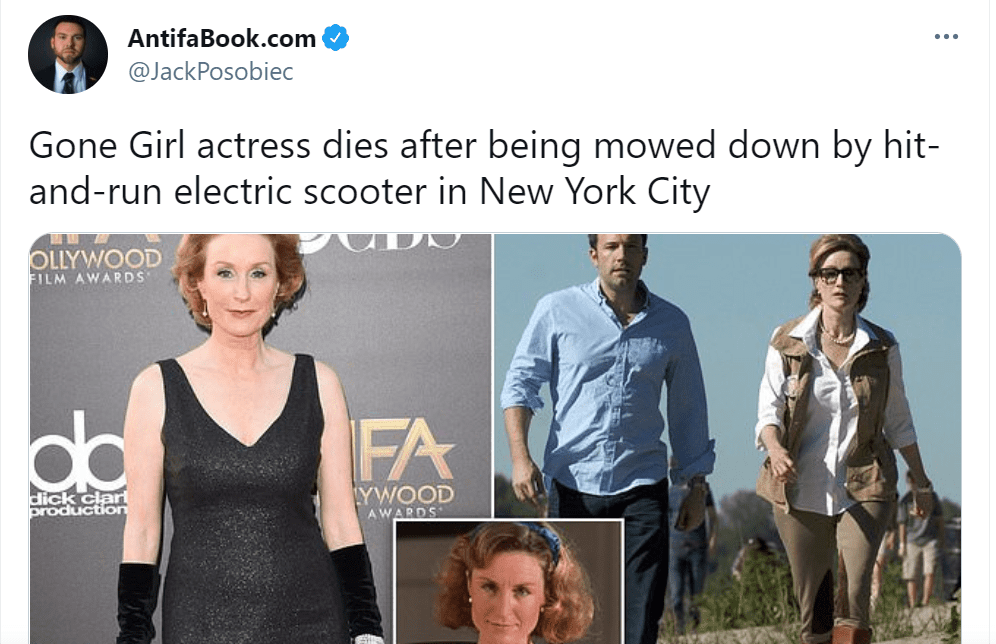 """Pictured - Jack Posobiec pays tribute to Lisa Banes by sharing a collage of her photos featuring Ben Affleck on one scene from their movie """"Gone Girl""""   Source: Twitter/@JackPosobiec"""