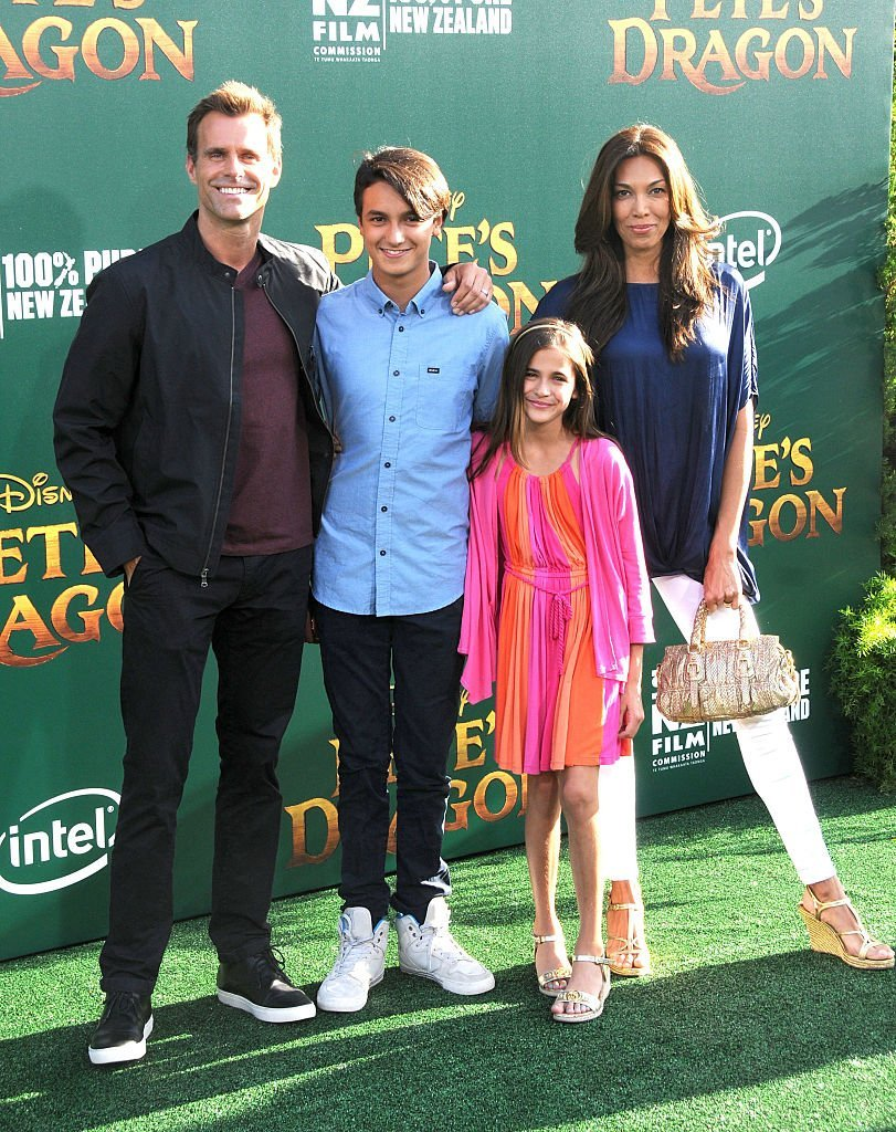 """Cameron Mathis and Vanessa Arevalo with their children Lucas and Leila Mathison attend the premiere of """"Pete's Dragon"""" in Hollywood, California on August 8, 2016 