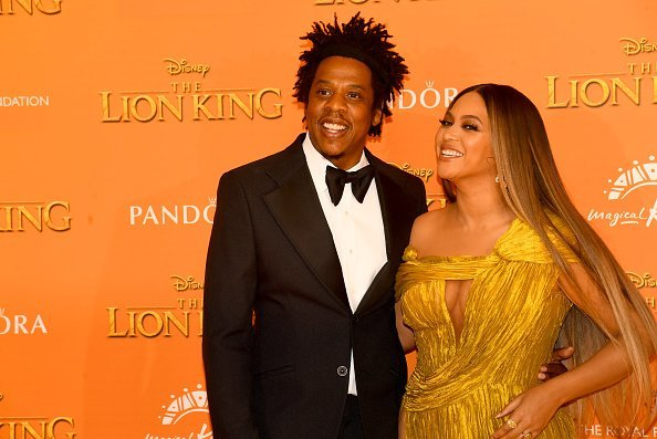 "Jay Z and Beyonce Knowles-Carter attend ""The Lion King"" European Premiere 