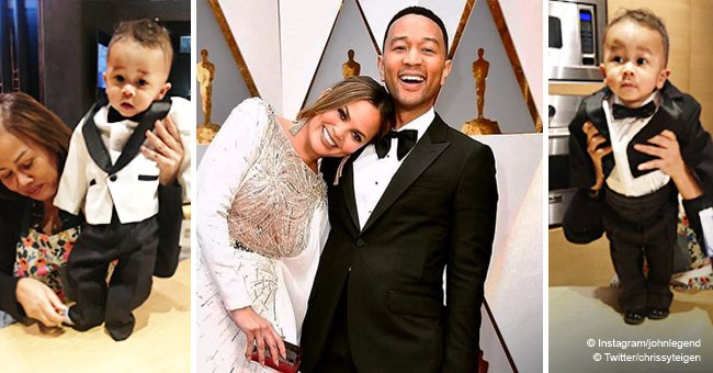 Chrissy Teigen prepares son for dad John Legend's party and can't decide which tux he should wear