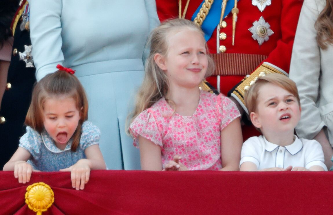 Princess Charlotte of Cambridge, Savannah Phillips and Prince George of Cambridge stand on the balcony of Buckingham Palace during Trooping The Colour 2018    Getty Images