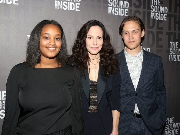 """Caroline Aberash Parker, mother Mary-Louise Parker and William Atticus Parker at the opening night of """"The Sound Inside"""" on October 17, 2019 
