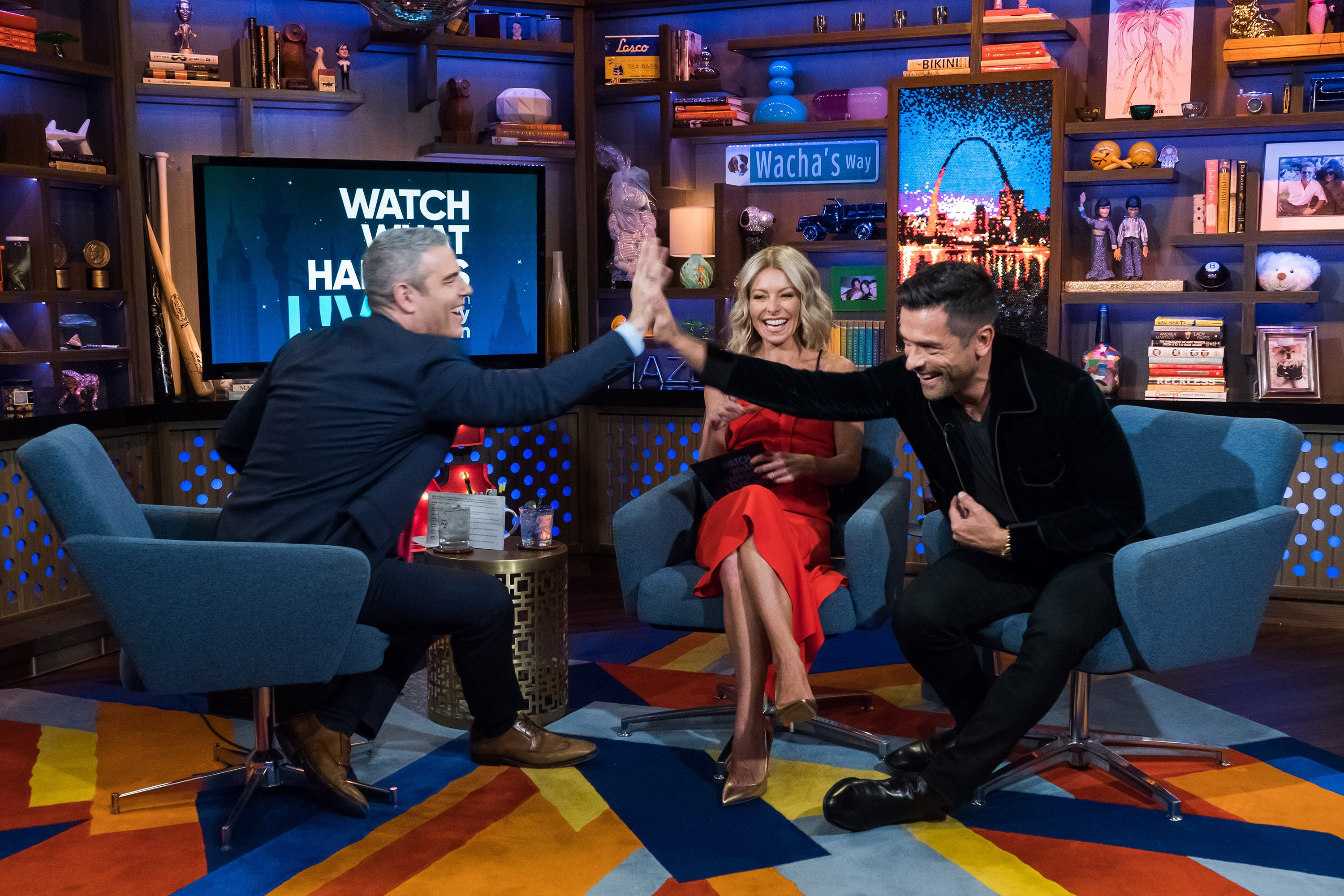 """Andy Cohen, Kelly Ripa and Mark Consuelos on """"Watch What Happens Live"""" on April 24, 2018 