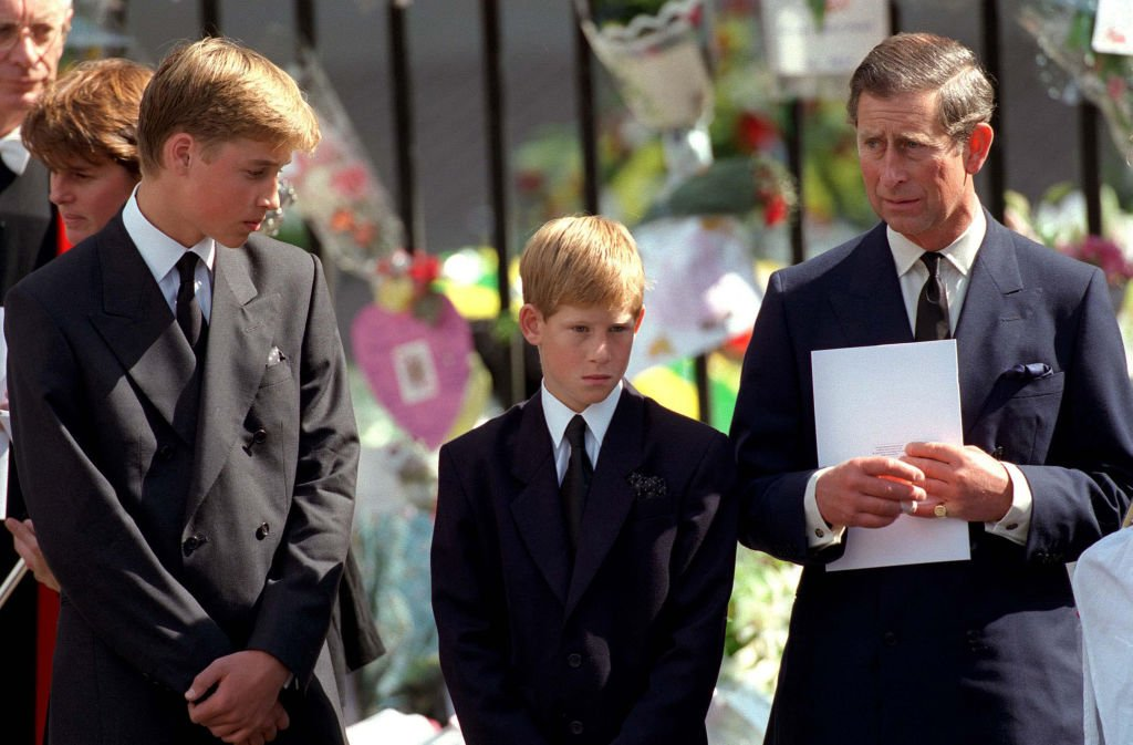 Prince William, Prince Harry, and Prince Charles outside Westminster Abbey at the funeral of Diana, The Princess of Wales on September 6, 1997. | Photo: Getty Images.