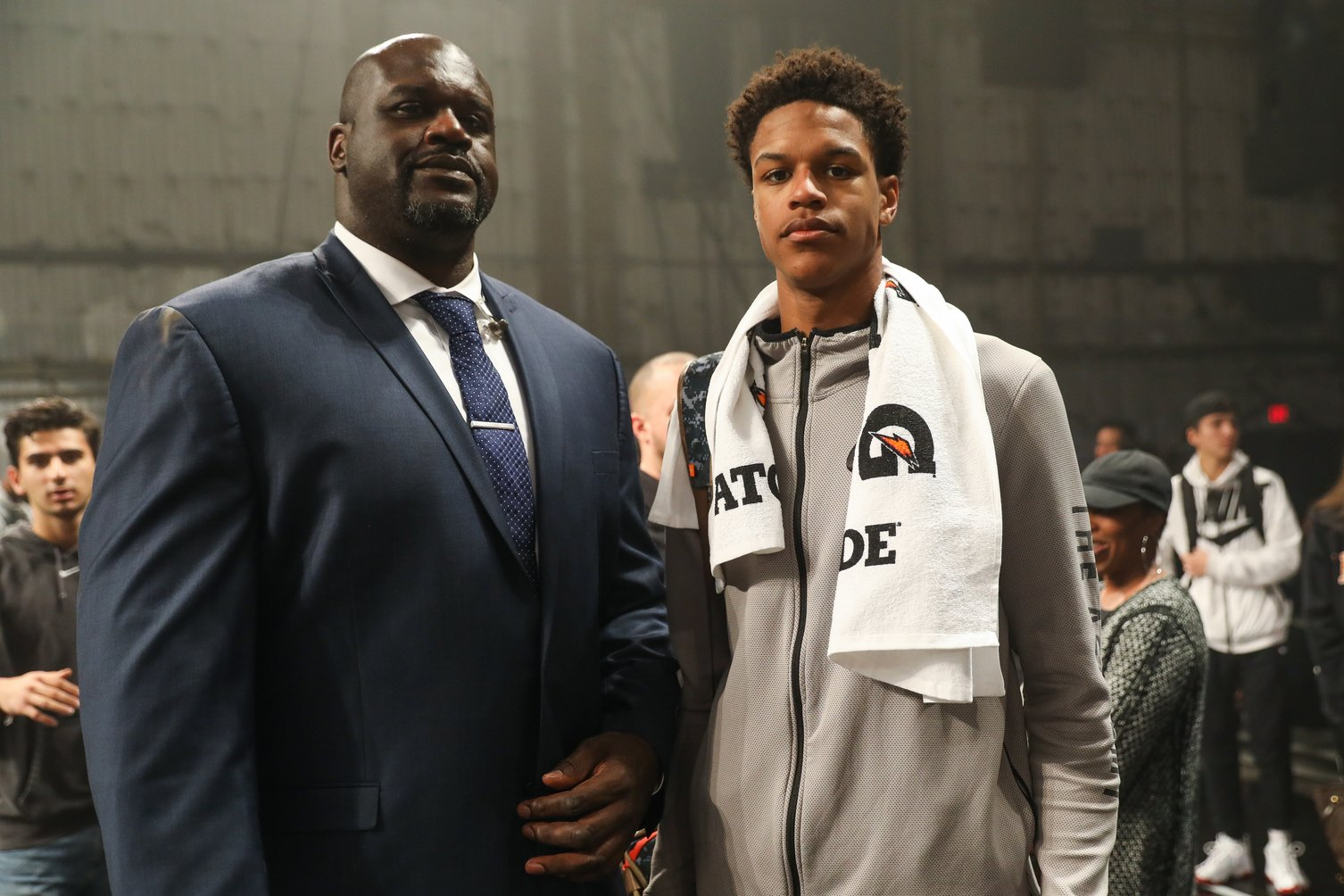 Shaquille O'Neal poses with his son Shareef O'Neal at the Jordan Brand Future of Flight Showcase on January 25, 2018 in Studio City, California | Photo: GettyImages