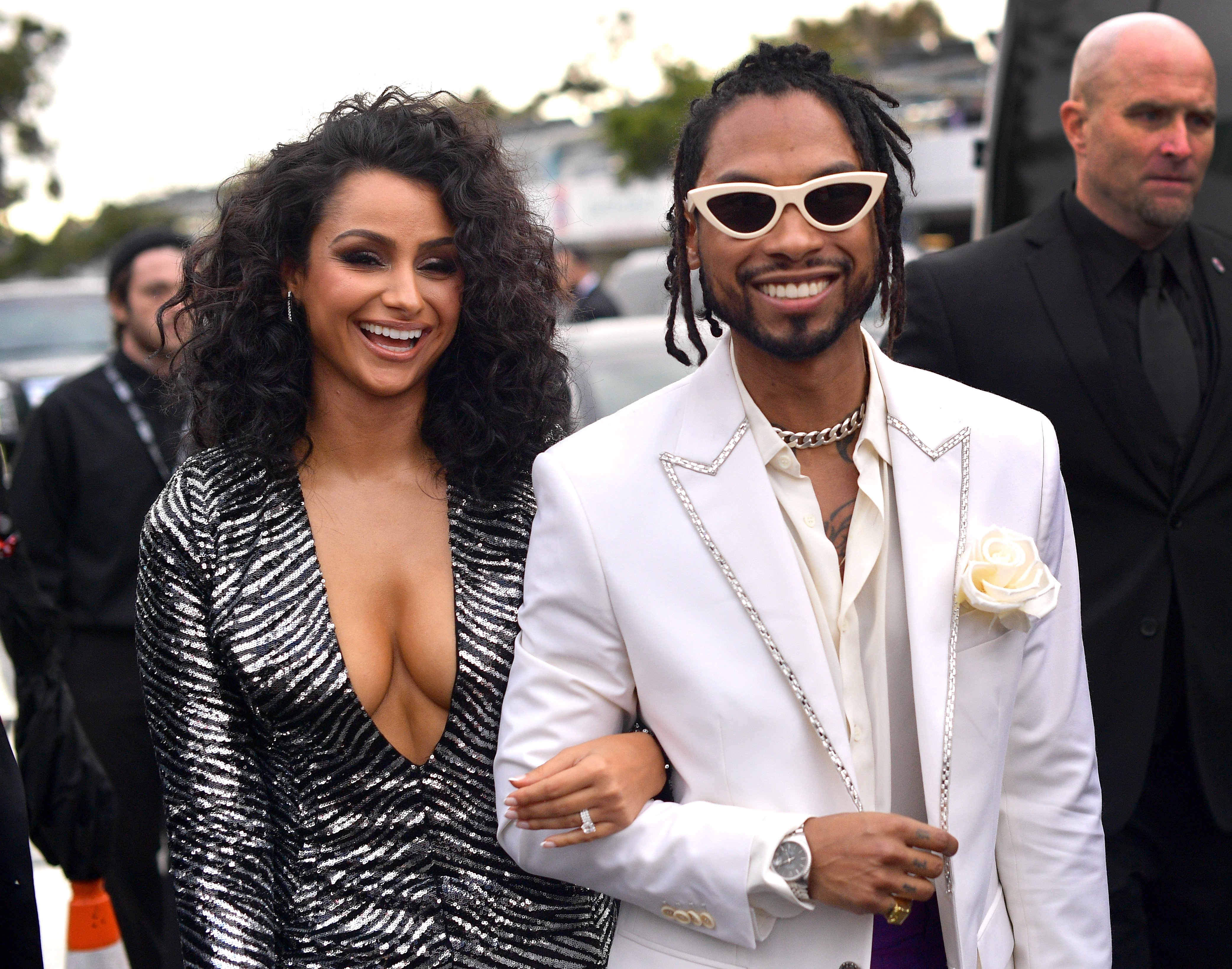 Miguel and Nazanin Mandi arrive at the 61st Annual GRAMMY Awards on February 10, 2019 in Los Angeles, California. | Photo by Matt Winkelmeyer/Getty Images