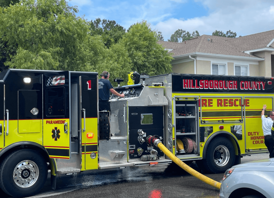 Pictured - A black and yellow fire truck on the street at the scene   Source: Facebook/ SheriffChadChronister