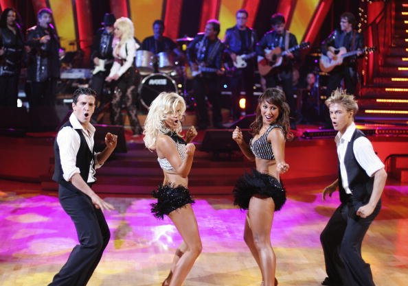 """Derek Hough, Mark Ballas, Jr., Julianne Hough and Cheryl Burke performing on """"Dancing With The Stars"""" in September 2007. 