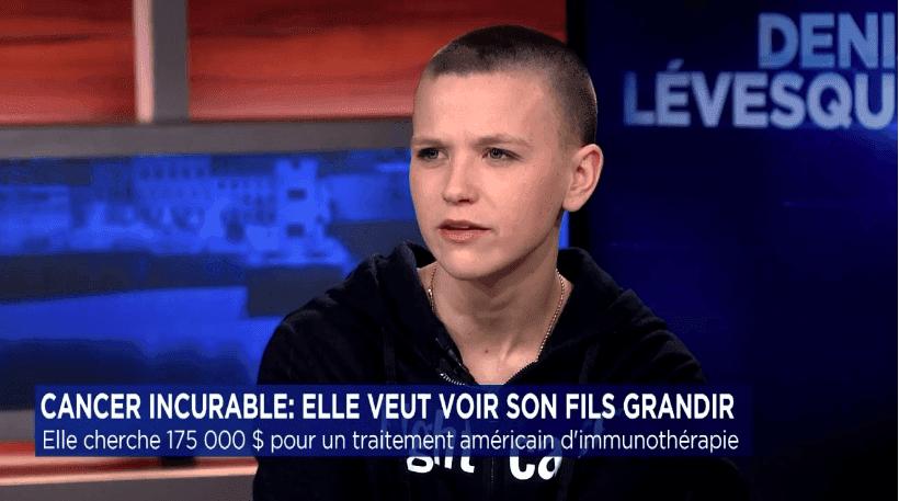 Caroline Auger sur le plateau de TVA avec Denis Lévesque. | tvanouvelles.ca/denislevesque