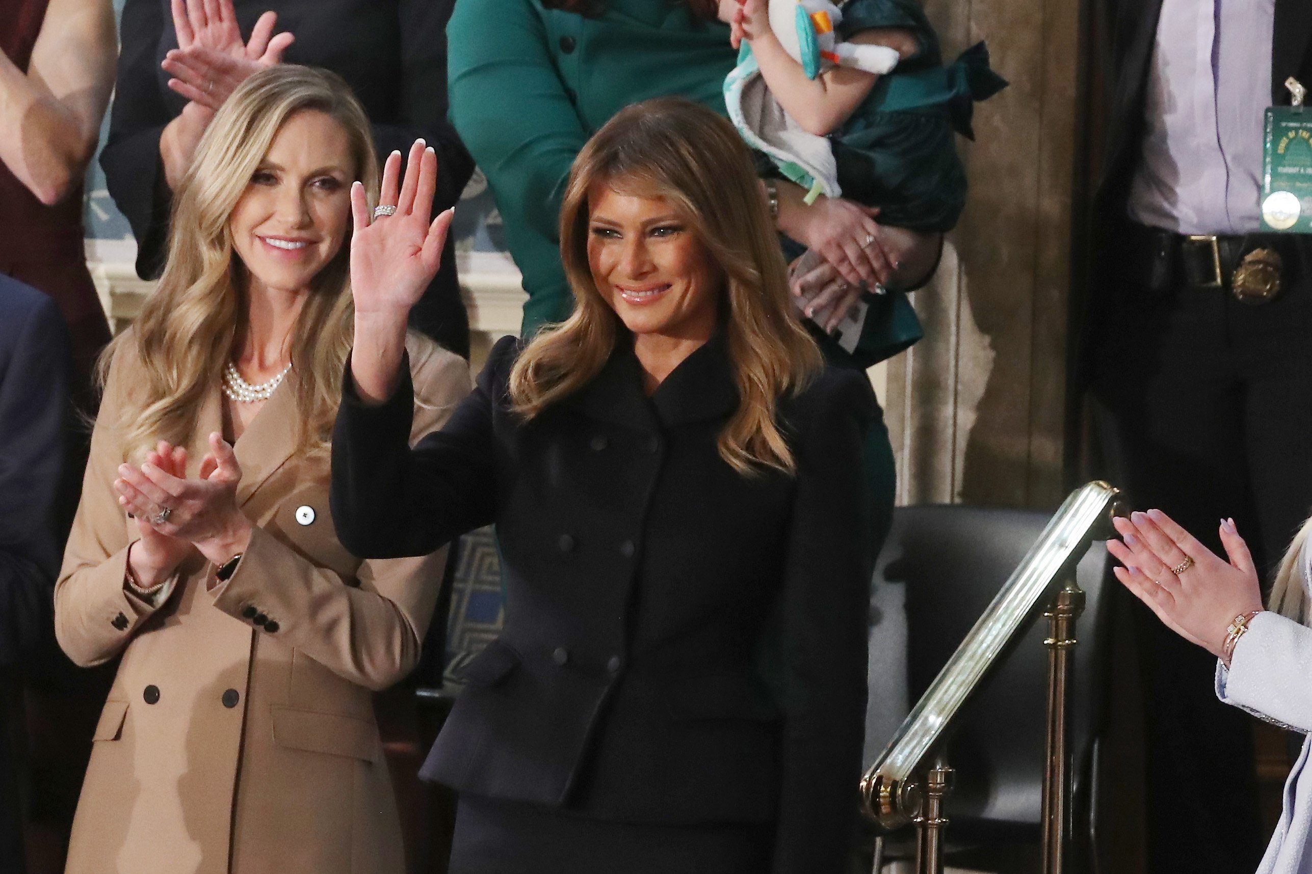 Melania Trump waves from the First Lady's box during the State of the Union address on February 04, 2020, in Washington, DC. | Source: Getty Images.