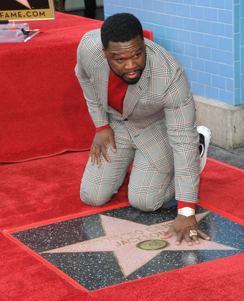 "Curtis ""50 Cent"" Jackson attends a ceremony honoring him with a star on the Hollywood Walk of Fame 