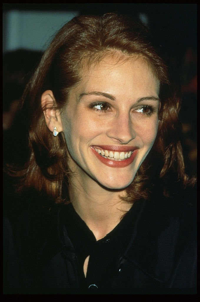 """Actress Julia Roberts at the premiere of her film, """"Michael Collins"""" in October 1996. 