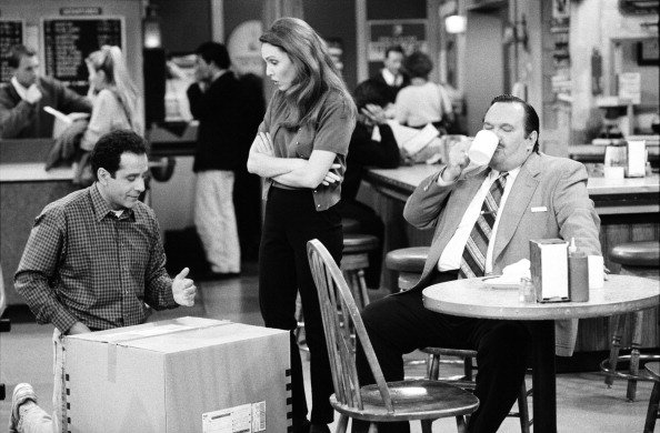 "Tony Shalhoub as Antonio Scarpacci, Amy Yasbeck  and David Schramm on set of ""WINGS "" 