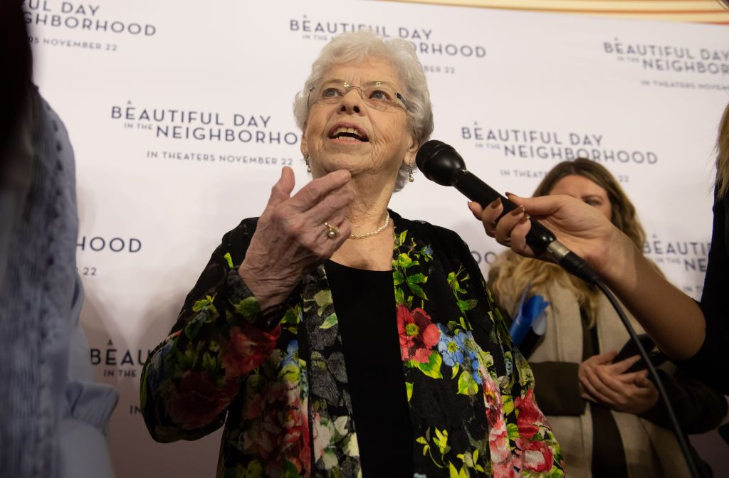 """Joanne Rogers at """"A Beautiful Day in the Neighborhood"""" movie premiere at the Southside Works Cinema on November 20, 2019   Photo: Getty Images"""
