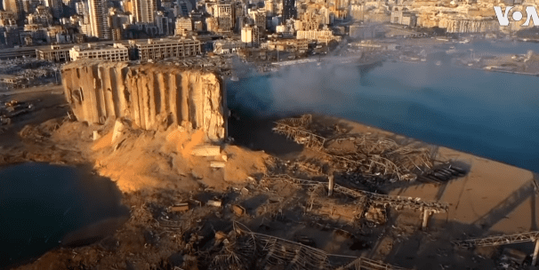 Arial footage of the aftermath of the explosion that took place at the port of Beirut. | Source: YouTube/VOA News.