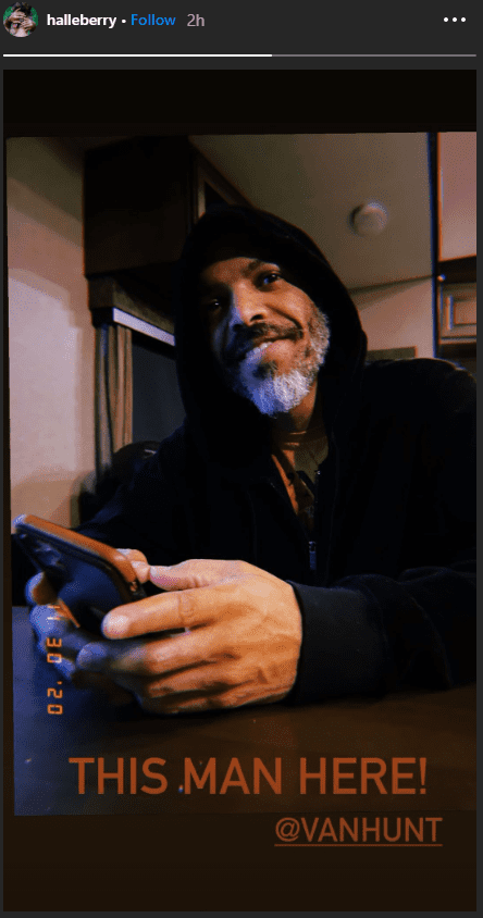 Halle Berry shares a picture of her boyfriend Van Hunt smiling in a hoodie.   Photo: Instagram/Halleberry
