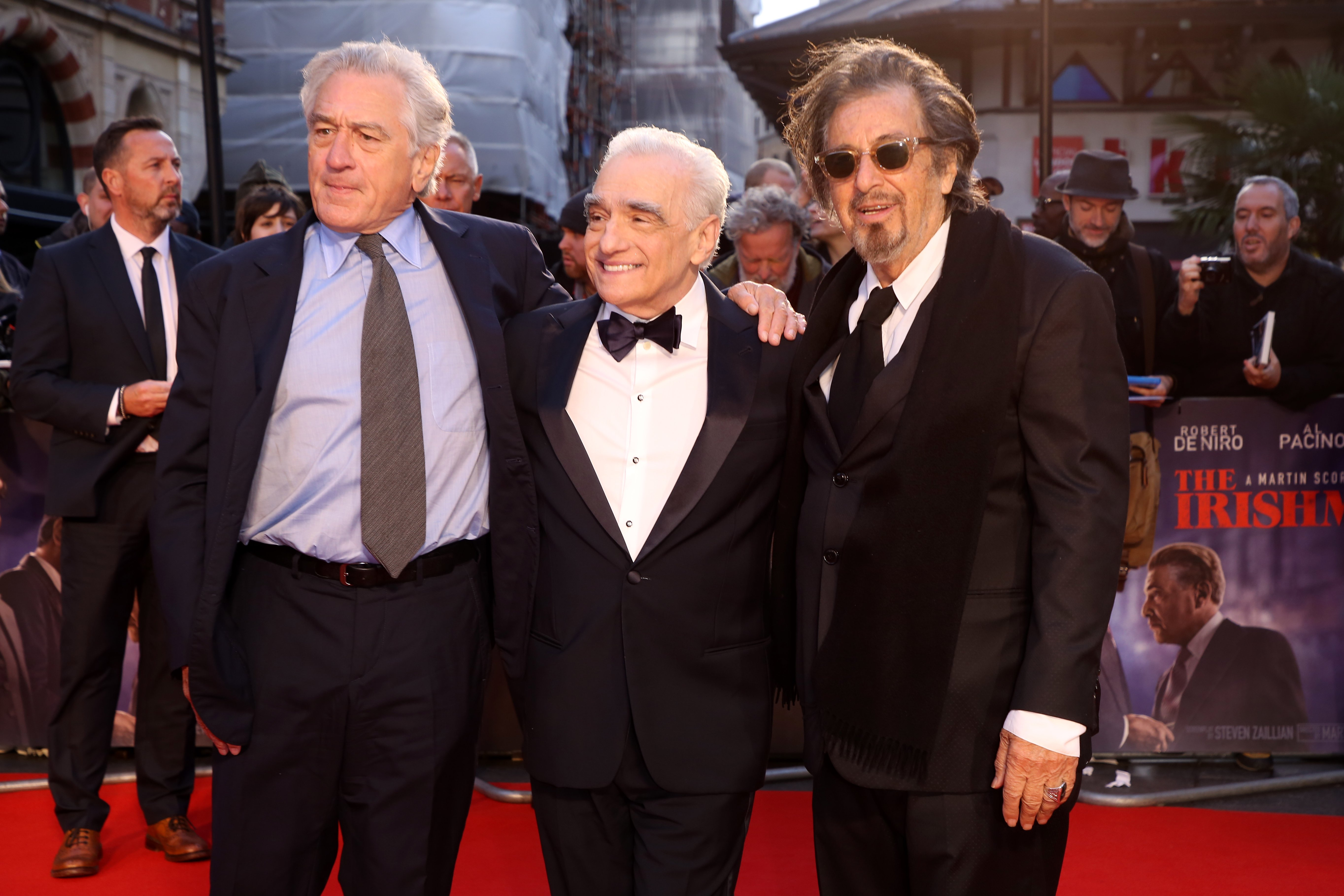 "Robert De Niro, Martin Scorsese and Al Pacino attend ""The Irishman"" International Premiere at the Odeon Luxe Leicester Square on October 13, 2019, in London, England. 