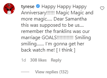 Tyrese's comment on Kirk and Tammy Franklin's 25th anniversary picture. | Photo: Instagram/Iamtammyfranklin