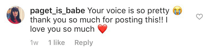 A fan's comment on her video   Instagram: pagetpagetgram