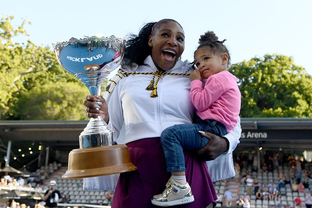Serena Williams celebrates with daughter Alexis Olympia after winning the final match against Jessica Pegula at ASB Tennis Centre in Auckland, New Zealand in January 2020. I Image: Getty Images.
