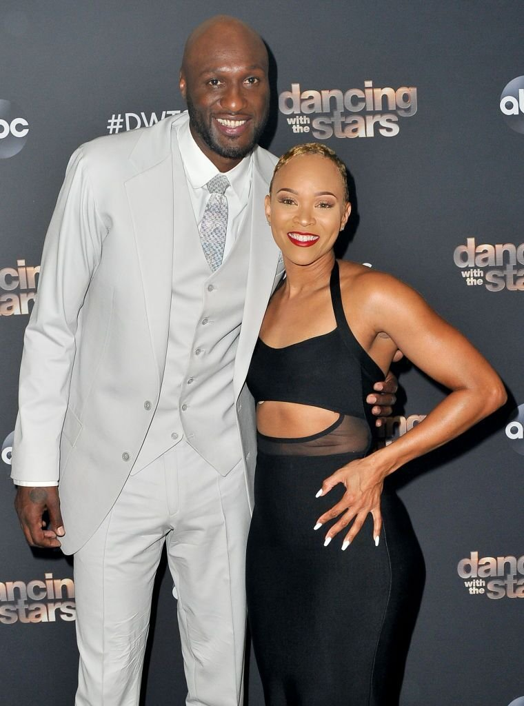 """Lamar Odom and Sabrina Parr pose for a photo prior to the """"Dancing With The Stars"""" Season 28 show at CBS Televison City on October 07, 2019 in Los Angeles, California. 