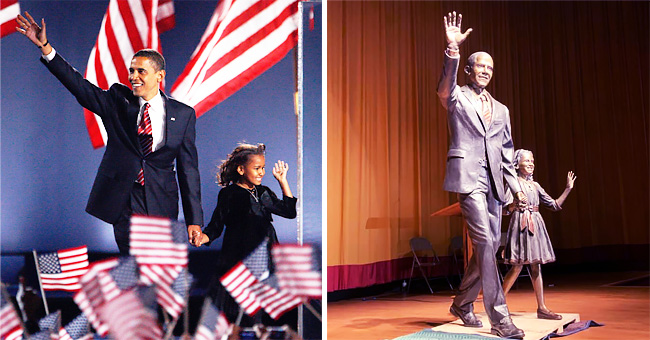 A Waving Barack Obama with Young Sasha Are Forever Memorialized by South Dakota Sculpture