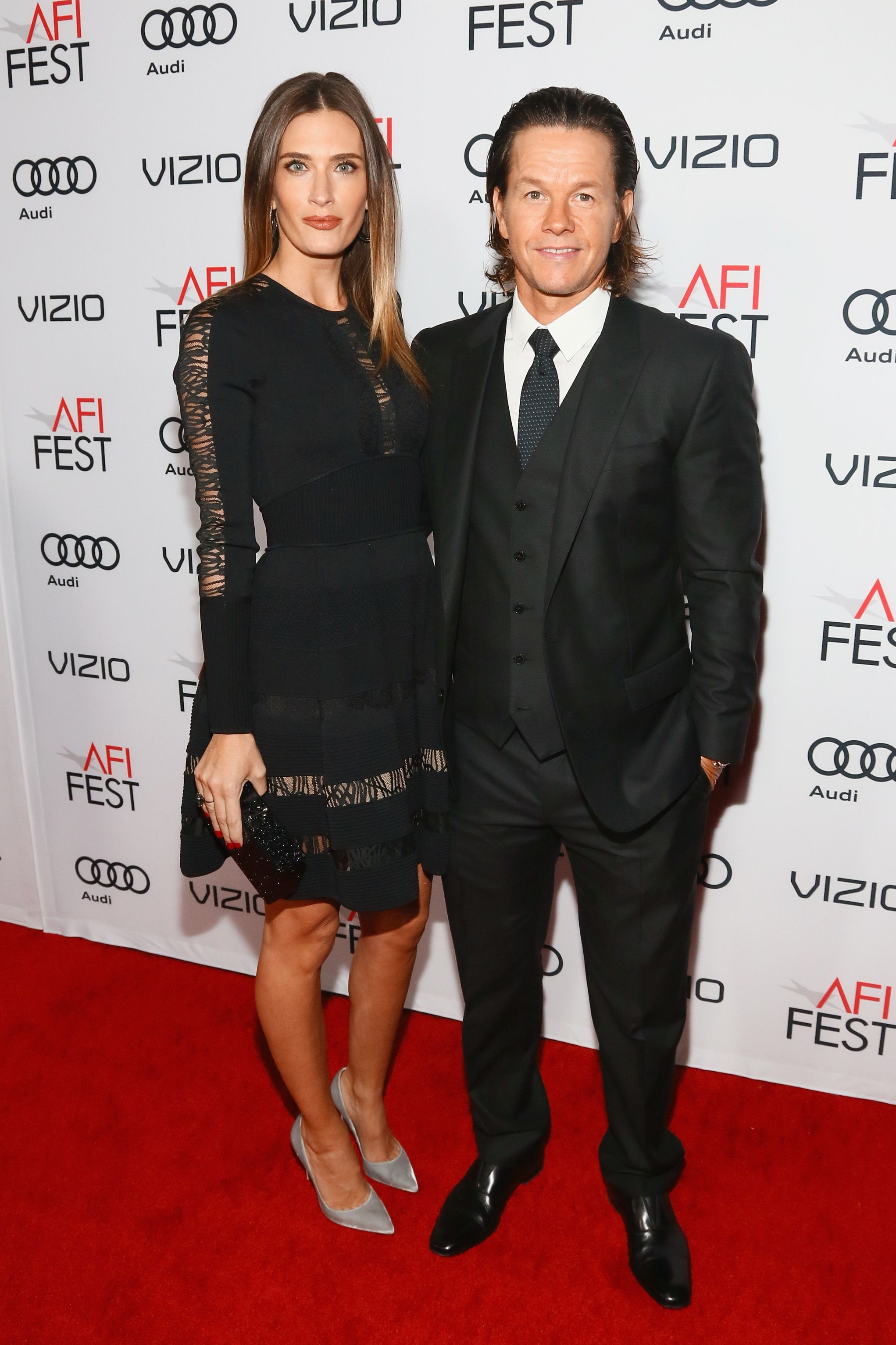 """Rhea Durham and husband Mark Wahlberg at the premiere of """"Patriots Day"""" in 2016 in Hollywood 