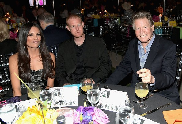 "Jewelry artist Echo Matthey, Redmond O'Neal and actor Ryan O'Neal at the Farrah Fawcett Foundation's ""Tex-Mex Fiesta"" 2017 at Wallis Annenberg Center for the Performing Arts on September 9, 2017, in Los Angeles, California. 
