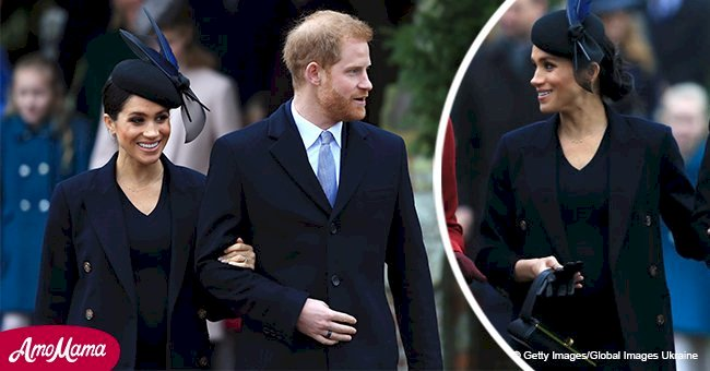 Meghan Markle flaunts baby bump in chic navy dress for her second Christmas with royal family