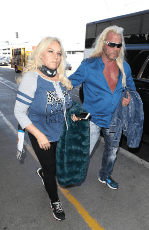 "After surgery for her throat cancer, Duane ""Dog"" Chapman and Beth Chapman at LAX airport, on September 28, 2017, Los Angeles 