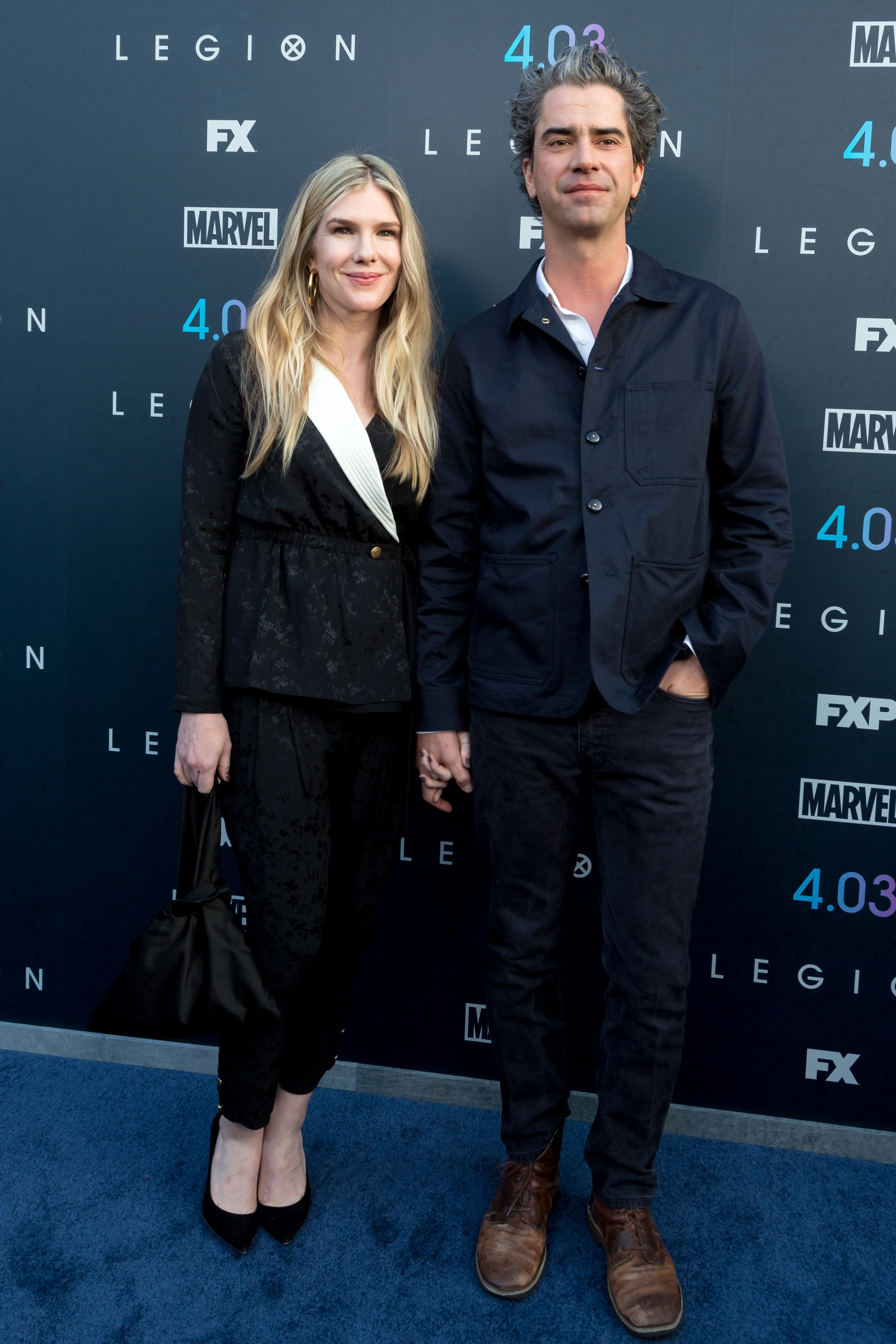 """Lily Rabe and Hamish Linklater attend the """"Legion"""" Season 2 Premiere at DGA Theater on April 2, 2018 in Los Angeles, California 
