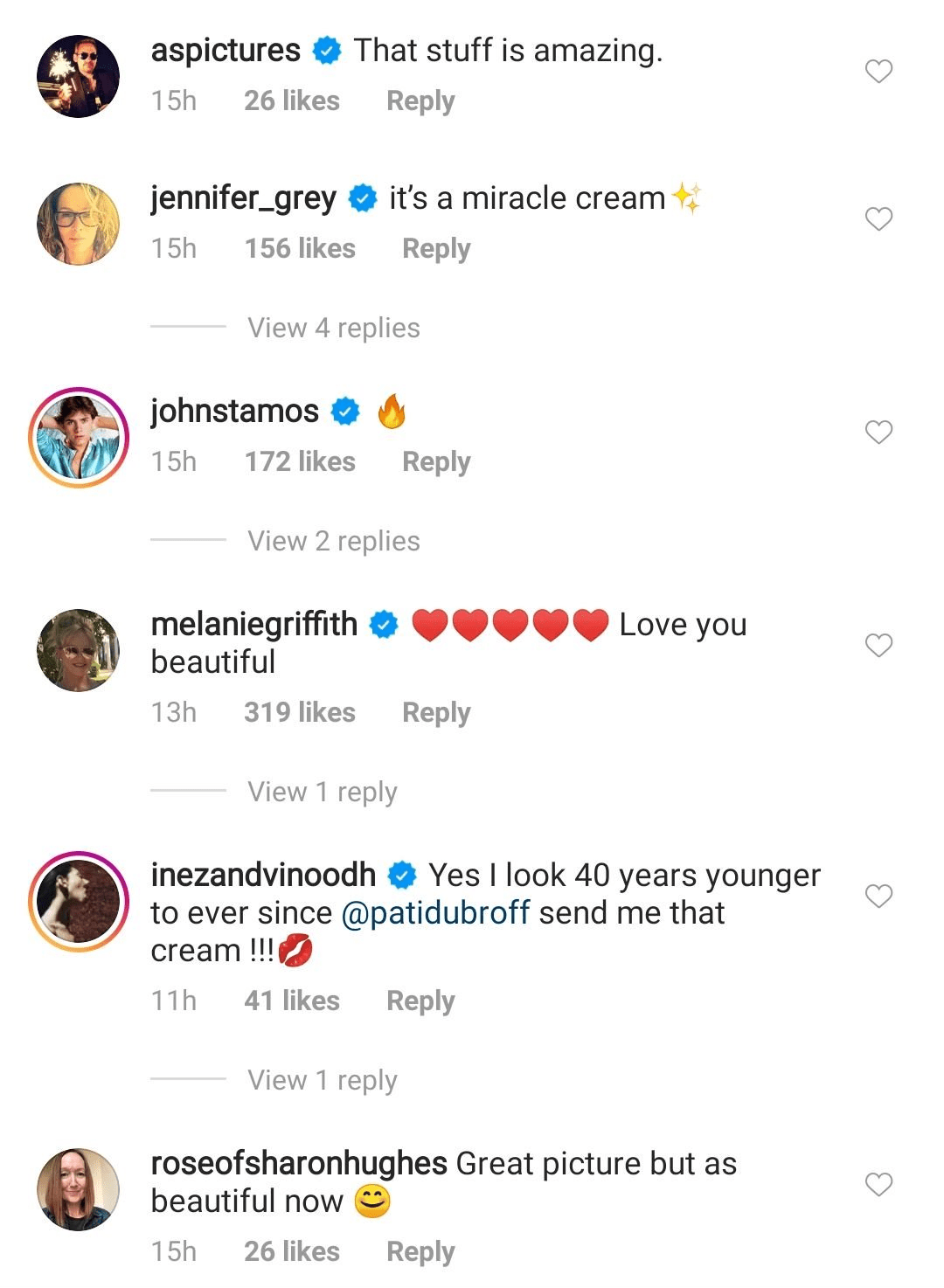 Screenshot of comments from the picture shared by Jamie Lee Curtis on Instagram on July 8, 2020. Photo: Instagram/curtisleejamie