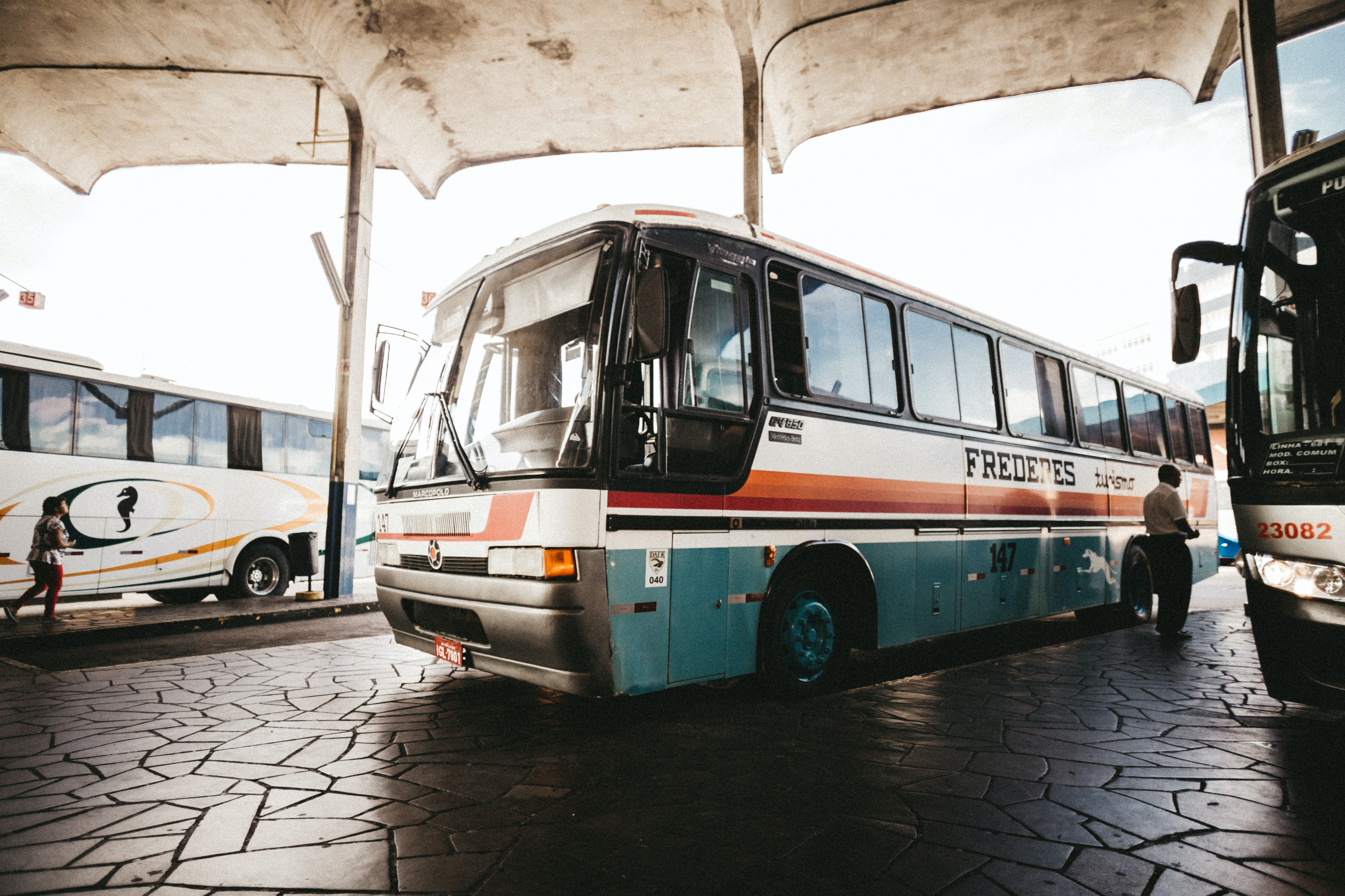 A bus standing at a station. | Source: Pexels/ Jonathan Borba