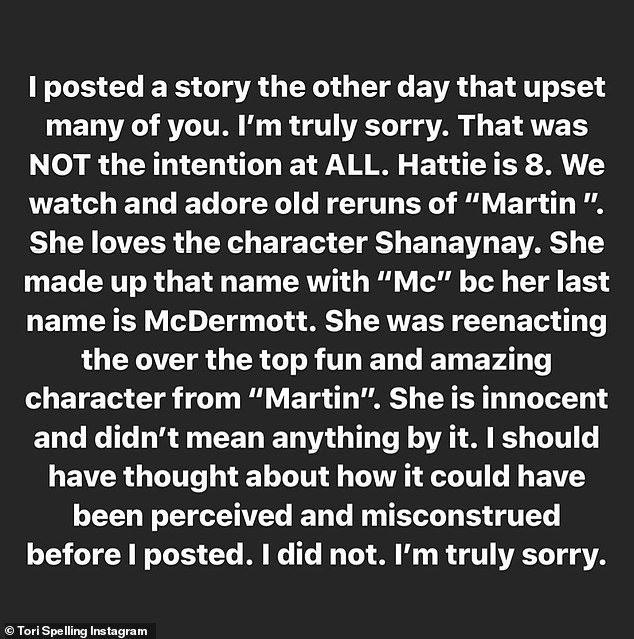 Tori Spelling's apology after receiving backlash over her posted picture of her daughter as they self-isolate amid the coronavirus pandemic. | Source: InstagramStories/torispelling.