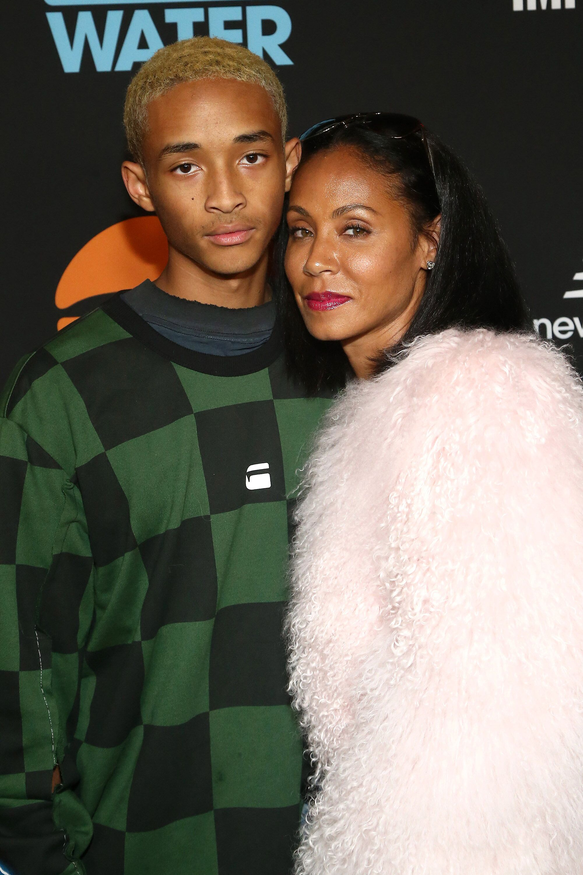 Jaden Smith and his mother Jada Pinkett Smith at a Just Water event in 2019/ Source; Gertty Images
