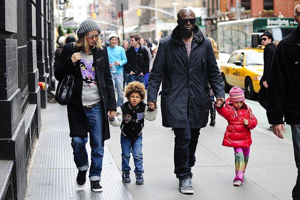 Heidi Klum und Sohn Henry Samuel, Sänger Seal, und Tochter Leni Klum | Quelle: Getty images
