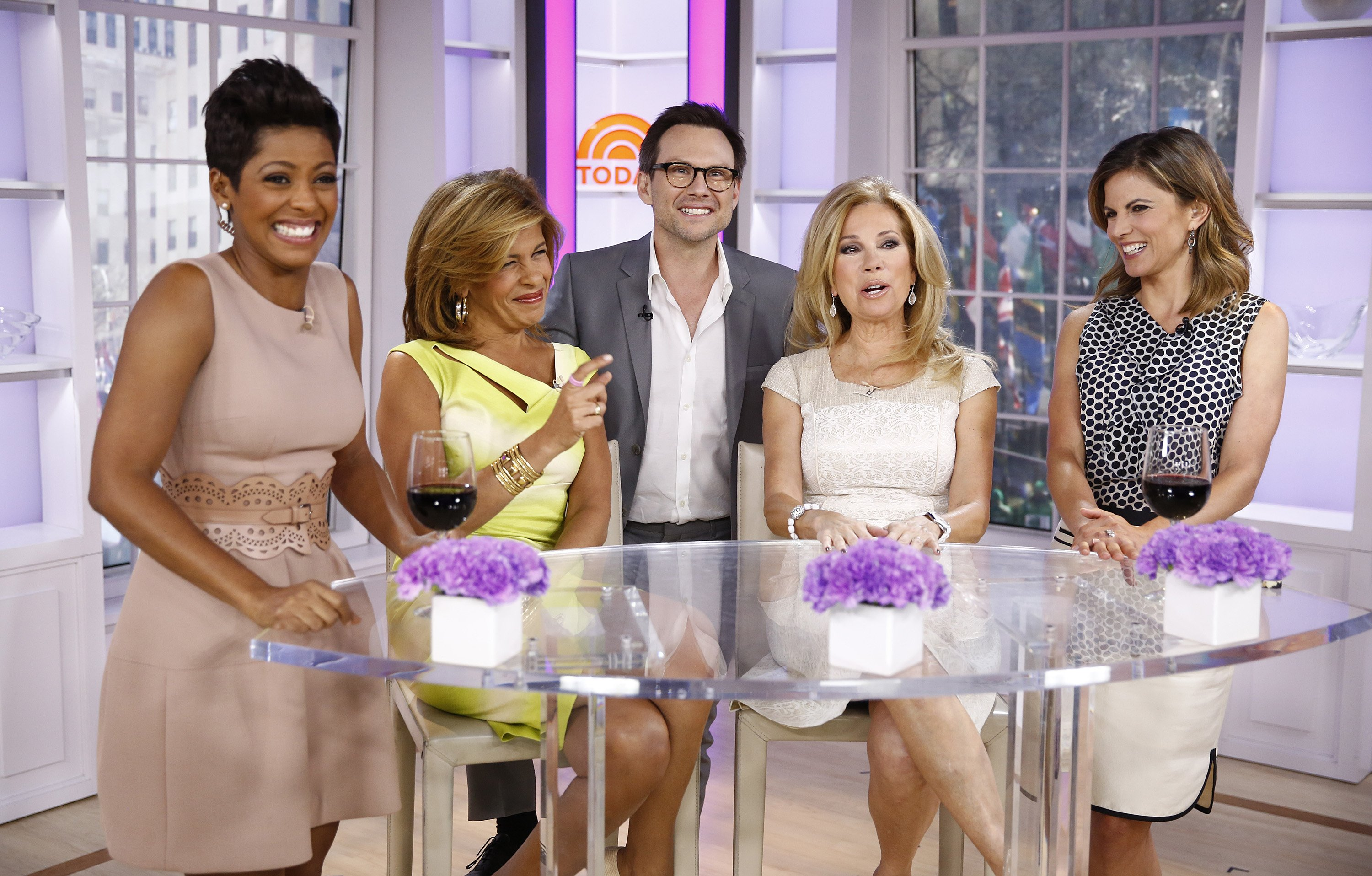 """Tamron Hall, Hoda Kotb, Christian Slater, Kathie Lee Gifford and Natalie Morales appear on NBC News' """"Today"""" show 