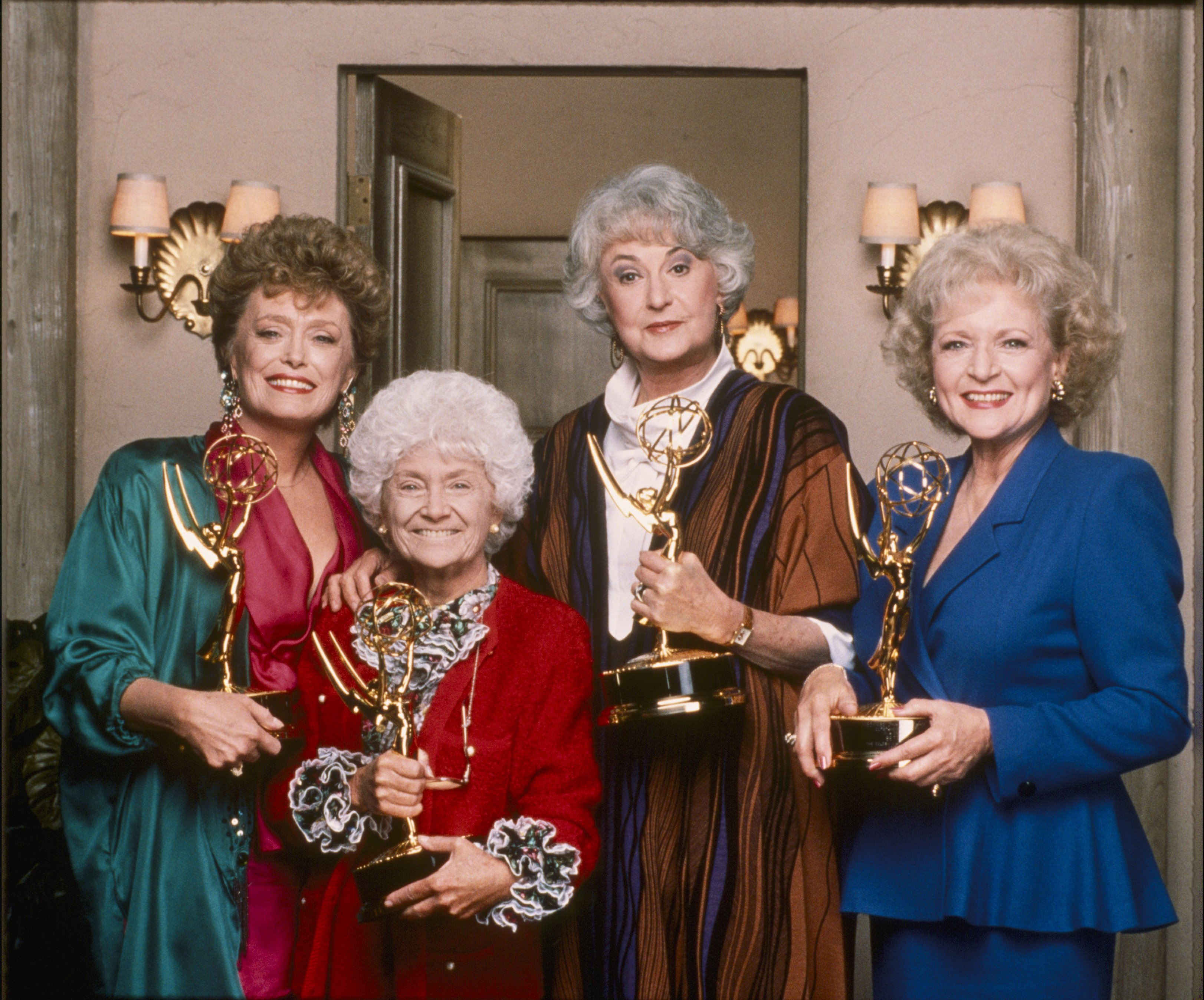 Rue McClanahan, Estelle Getty, Bea Arthur, and  Betty White with their Emmys for Outstanding Lead Actress in a Comedy Series | Source: Getty Images