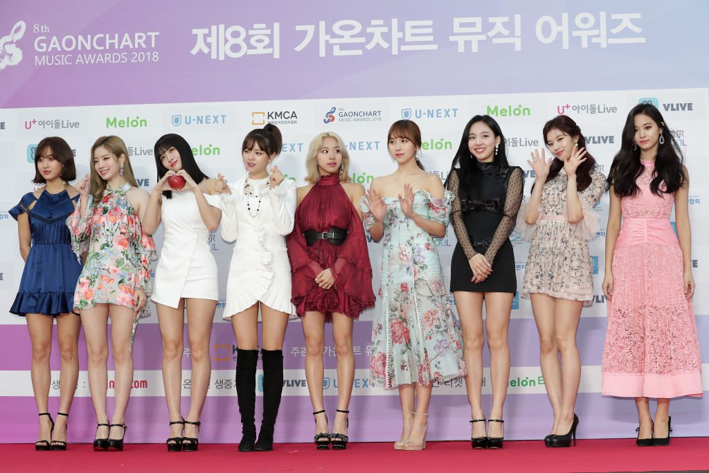 Members of girl group TWICE attend the 8th Gaon Chart K-Pop Awards on January 23, 2019 in Seoul, South Korea. | Source: Getty Images