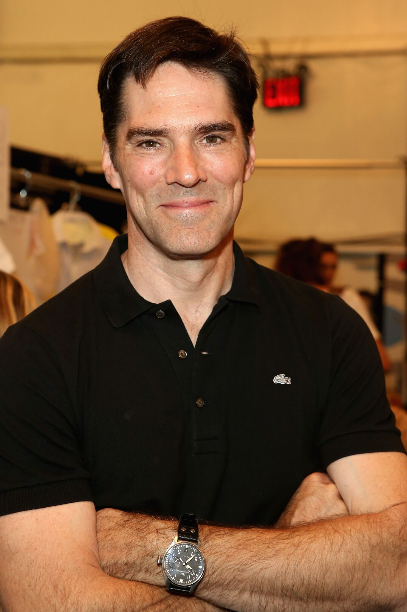 Actor Thomas Gibson poses backstage at the Lacoste Spring 2013 fashion show during Mercedes-Benz Fashion Week  | Getty Images