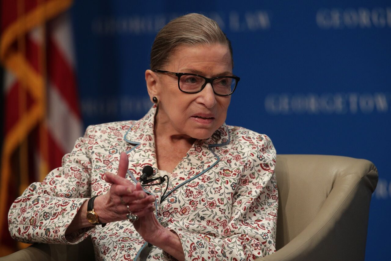 Supreme Court Associate Justice Ruth Bader Ginsburg at a discussion at Georgetown University Law Center. | Source: Getty Images