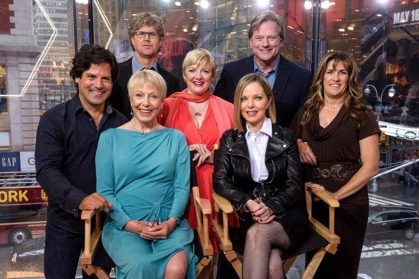 "Matthew Labyorteaux, Michael Landon, Jr., Alison Arngrim, Dean Butler, Lindsay Greenbush, (L-R seated) Karen Grassle, and Melissa Sue Anderson of ""Little House On The Prairie"" at H&M in Times Square on April 30, 2014 in New York City. 