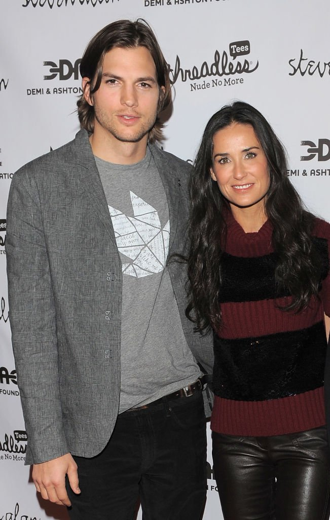 "Actors Ashton Kutcher and Demi Moore attend the launch party for ""Real Men Don't Buy Girls"" at Steven Alan Annex 