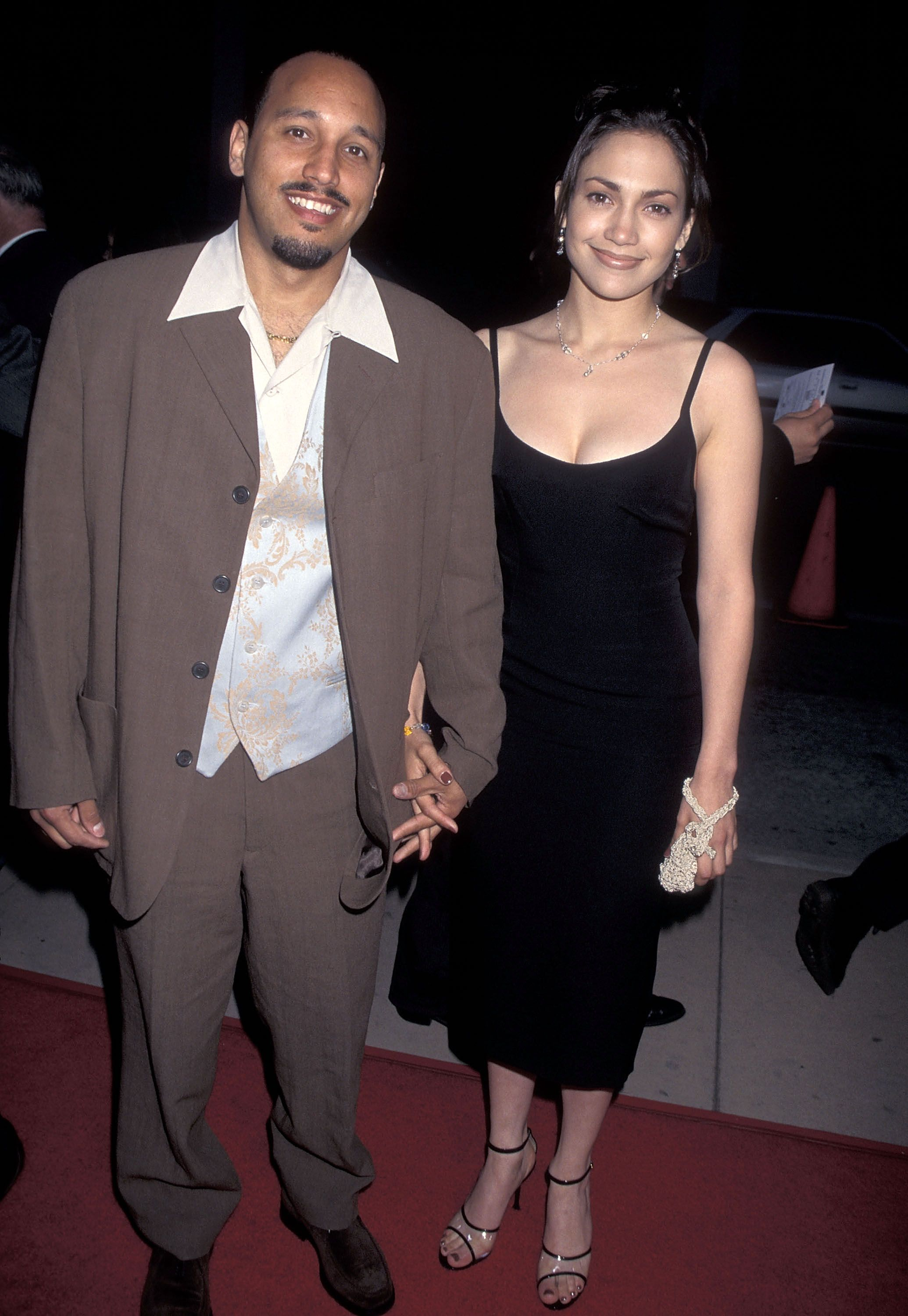 """Actress Jennifer Lopez and boyfriend David Cruz attend the """"My Family"""" Hollywood Premiere on April 27, 1995 