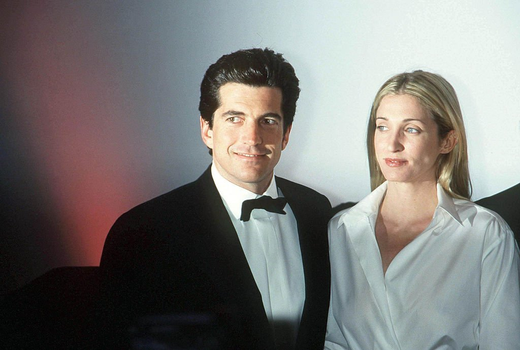 """John F. Kennedy, Jr. and his wife Carolyn Bessette Kennedy attend the """"Brite Nite Whitney"""" Fundraising Gala 
