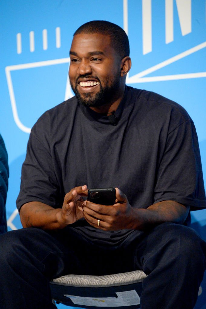 """Kanye West speaks on stage at the """"Kanye West and Steven Smith in Conversation with Mark Wilson"""" at the in New York City 