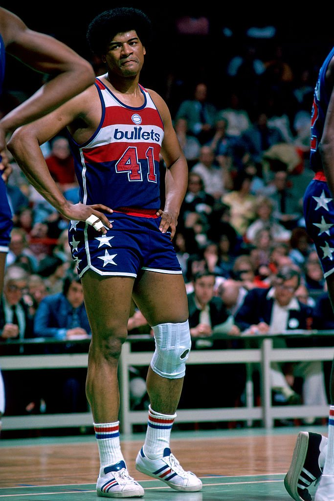 Wes Unseld, #41 of the Washington Bullets in a game against the Boston Celtics in 1976.   Photo: Getty Images
