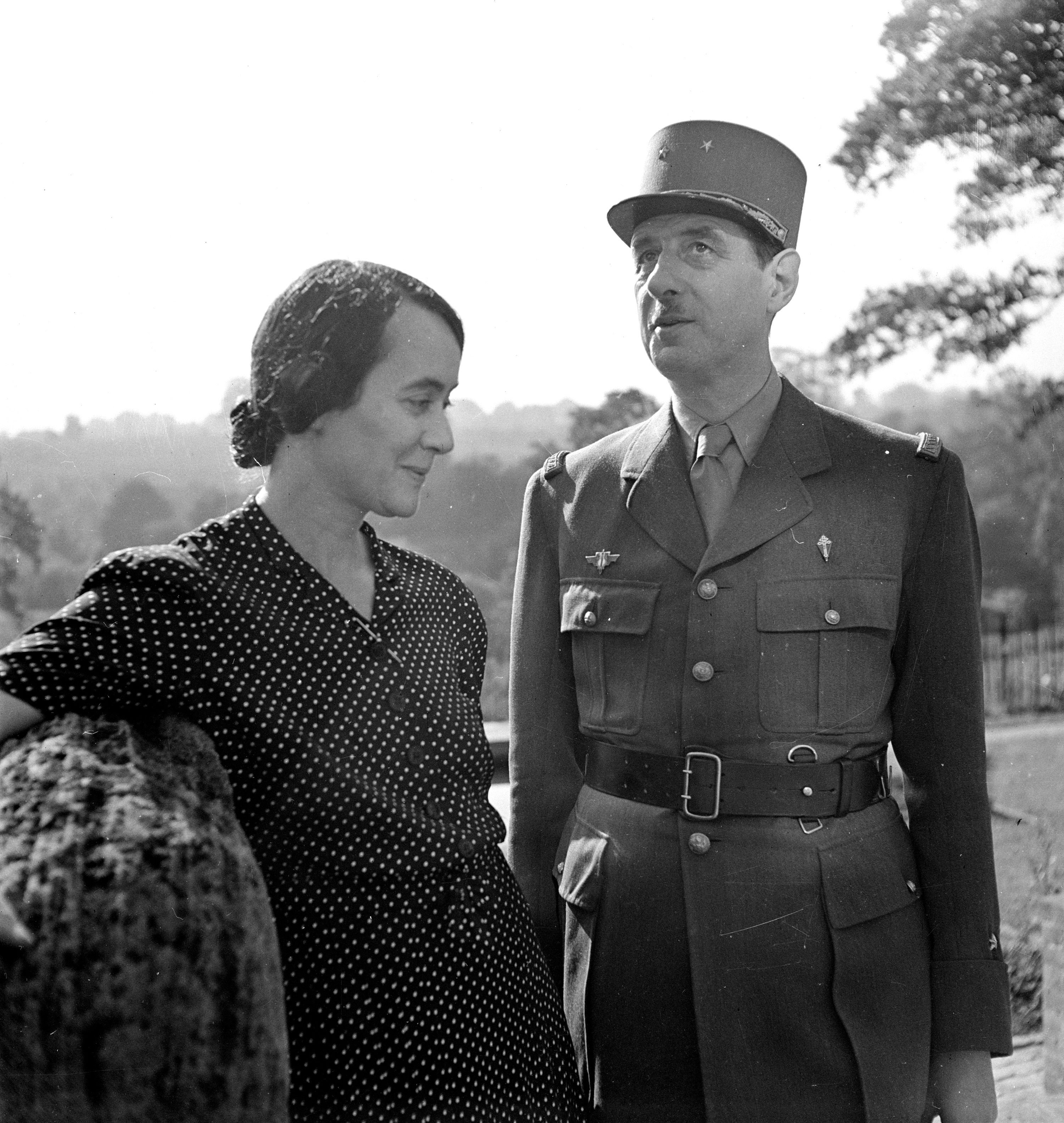 Yvonne de Gaulle et son mari. l Source : Getty Images